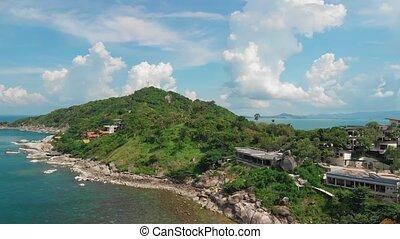 phangan, littoral, koh, vue, thaïlande, aérien, île
