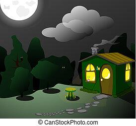 phantastisch, grün, hütte, nacht