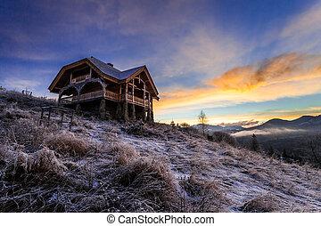 phantastisch, winter, landschaft., dramatisch, bewölkt ,...