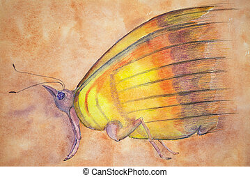 Phantasy butterfly on a salmon pink background. The dabbing ...