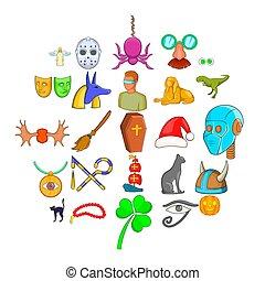 Phantasy icons set, cartoon style