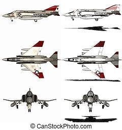3d render of a phantom - fighter aircraft