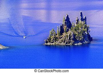 Phantom Ship Island Boat Crater Lake Reflection Blue Sky Oregon