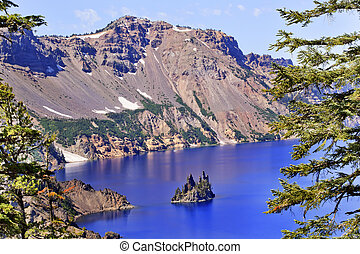 Phantom Ship Island Crater Lake Reflection Blue Sky Oregon -...