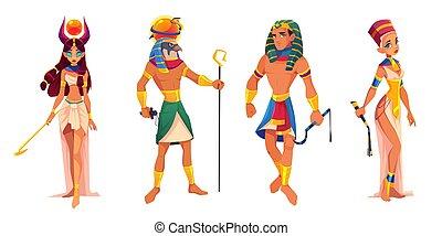 pharaoh, ægypten, guder, ra., hathor, herskere, nefertiti