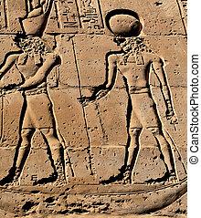 Pharaoh and god hieroglyph, Edfu Temple, Egypt