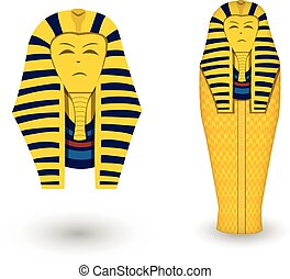 Pharaoh coffin and mask on white, vector design