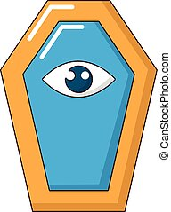 Pharaoh coffin icon, cartoon style