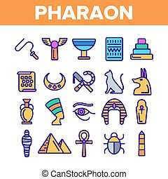 Pharaoh, Egypt King Vector Thin Line Icons Set