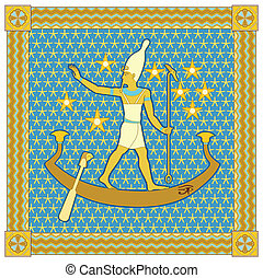 Pharaoh in the frame - Egyptian pharaoh in a boat floating...