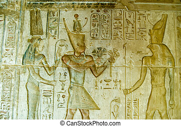 Pharaoh Ptolemy IV with Maat and Ho