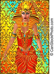Pharaoh queen, abstract background