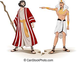 pharaoh, sends, mojžíš, pryč, jako, obětní beránek