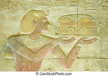 Pharaoh Seti religious offering - Ancient Egyptian bas...