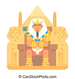 Pharaoh sitting on throne cartoon design