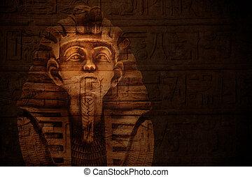 pharaoh, steen, masker, tutankhamen