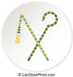 Pharaoh symbols icon circle - Pharaoh symbols icon in flat...