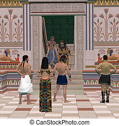 Pharaoh Throne Hall - A group of Egyptian people come to...