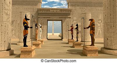 pharaoh's, estatuas, templo