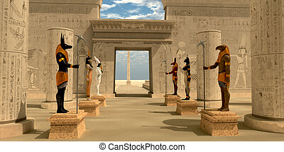 pharaoh's, statues, temple