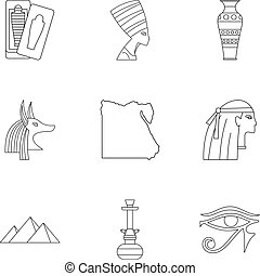 Pharaon of Egypt icons set, outline style - Pharaon of Egypt...