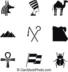 Pharaon of Egypt icons set, simple style - Pharaon of Egypt...