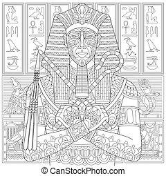 pharaon, stylisé, zentangle