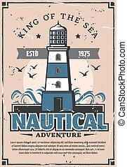 phare, affiche, aventure, mer, nautique, marin