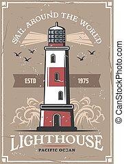 phare, affiche, nautisme, aventure, nautique, marin