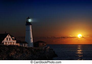 phare, aube