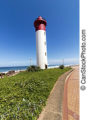 phare, beachfront, promenade, portrait, umhlanga, pavé