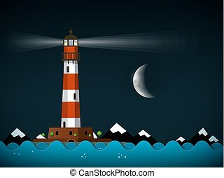 phare, ciel nuit, paysage, lune