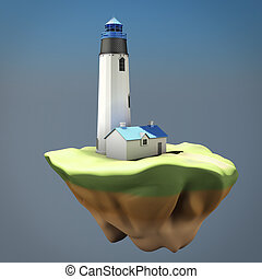 phare, concept, island., render, image, 3d