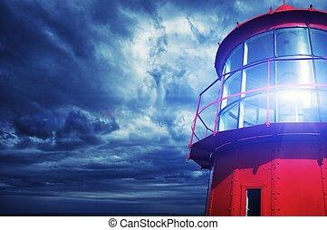 phare, contre, orageux, sky.