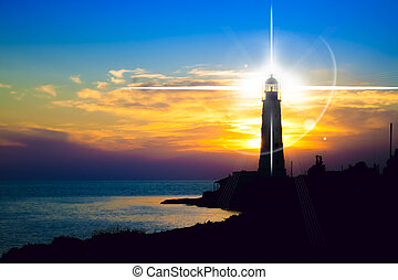 phare, coucher soleil