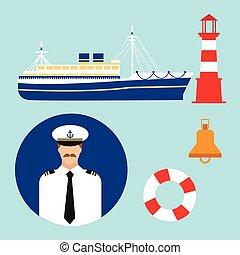 phare, ensemble, croisière, marin, vecteur, mer, nautique, expédier capitaine, marin, bateau, icône