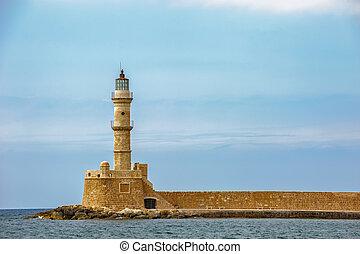 phare, island., chania, grèce, crète, vieux port