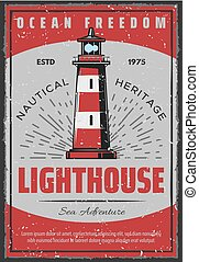 phare, marin, affiche, retro, seafarer, navigation