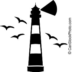 phare, mouettes