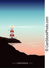 phare, océan, coucher soleil, beau, marine
