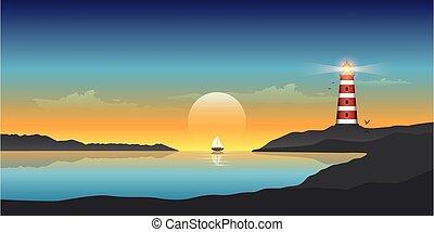 phare, océan, coucher soleil, beau, voilier, marine