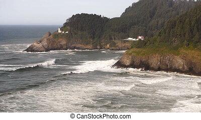 phare, orégon, balise, côtier, nautique, heceta, marin