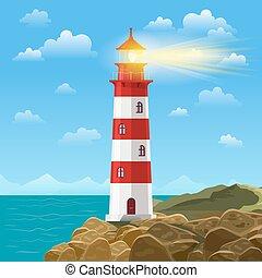 phare, ou, fond, illustration, océan, vecteur, mer, plage, dessin animé