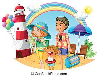 phare, plage, famille