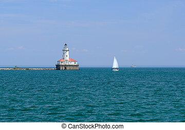 phare port, 1893, construit, chicago