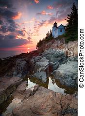phare port, coucher soleil, basse