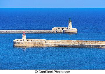 phare, ricasoli, valletta, elmo, port, malta., rue., grandiose, kalkara