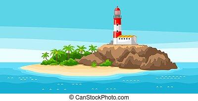 phare, rocheux, rocks., voyage, illustration, coast., océan, arbres, fond, paume, paysage