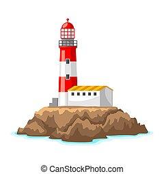 phare, rocheux, rocks., voyage, illustration, océan, coast., fond, paysage