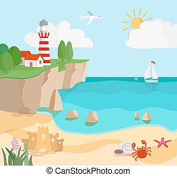phare, sailboat., marine, vecteur, crabe, etoile mer, côte, dessin animé, sable, vagues